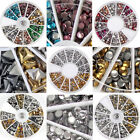 Nail Art 3D Design Metal Studs Silver Gold Mix Shaped Round Wheel Decoration Tip