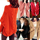 Casual Women Bat Wing Thick Loose Sweater Wool Knit Shawl Cardigan Coat Outwear