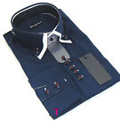 Brand New Mens Navy Blue with White Double Collar Slim Fit Shirt Formal, Smart