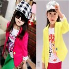Kids Girls Baby Slim Fit Jacket Outwear Suits Blazers Candy Color Costume 2-7Y
