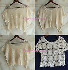 Crochet Lace Floral Loose Dolman Pullover Blouse Top Bikini Beach Cover