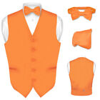 Men's Dress Vest BOWTie ORANGE Bow Tie Set for Suit or Tuxedo