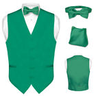 Men's EMERALD GREEN Dress Vest BOWTie Set for Suit or Tuxedo