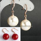 A1-E166 Fashion Pearl Dangle Earrings Hook 18KGP use Swarovski Crystal