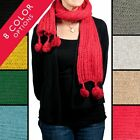 """Fluffy Pom-Pom Scarf Cable Knit Winter Soft 77"""" Long Wrap Around Solid Color"""