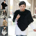 Stylish Real Rex Farms Knit Rabbit Fur Wrap Shawl Cape Poncho Outwear Coffee