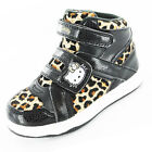 Girls SIZE 8 - 2 HELLO KITTY Black Leopard HI TOP TRAINERS Boots Velcro Viola