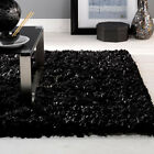 Flame Black Rugs | Shaggy Pile Modern Colours Soft Touch High Quality 2 sizes