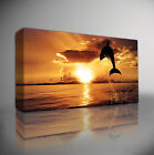 DOLPHIN SUNSET LANDSCAPE - PREMIUM LARGE GICLEE CANVAS ART