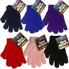 BOYS KIDS GIRLS CHILDRENS MAGIC WINTER GLOVES WARM THERMAL BLACK BLUE RED PINK