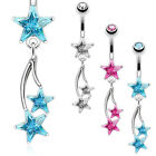 Shooting Star CZ Dangle Belly Button Navel Ring 316L Surgical Steel