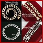 14K YELLOW WHITE GOLD GF DIAMOND CUT FLAT CURB CHAIN MENS SOLID BRACELET BANGLE
