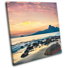 Sunrise mountain Sunset Seascape SINGLE CANVAS WALL ART Picture Print VA