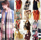 10Colors Womens Wool Tassels Plaid Checks Warm Winter Long Soft Scarf Shawl Wrap