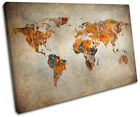 Grunge World Atlas Maps Flags SINGLE CANVAS WALL ART Picture Print VA