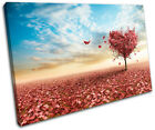 Maple Tree Heart Love SINGLE CANVAS WALL ART Picture Print VA