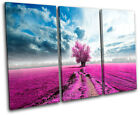 Surreal Tree Pink Landscapes TREBLE CANVAS WALL ART Picture Print VA