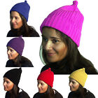 Chunky Knitted Knit Hat Thermal Womens Wooly Beanie Winter Insulated Head Warmer