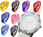 GENEVA BUCKLE SILICONE GOLDEN CRYSTAL WATCH WOMEN GIRL QUARTZ JELLY WRIST BLING