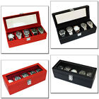 MENS GENTS GENUINE BLACK OR RED BONDED LEATHER 5 WATCH STORAGE BOX DISPLAY CASE