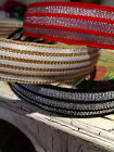 "7/8"" CHRISTMAS METALLIC Grosgrain Ribbon HEADBANDS 3 colors Red, Black Off White"