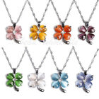 Cat's eye Opal Heart Clear Crystal Silver Plated Four-leaf clover 18KGP Necklace