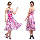 Floral Cocktail Party Summer Maxi Chiffon Beach Evening Dress 06089 AU SZ 8-18