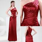 New Wine Red One Shoulder Formal Satin Bridesmaid Ball Gown Evening Party Dress