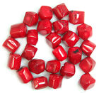 """11x14-14x16mm A++ Faceted Red Coral Nugget Beads 15.5"""""""
