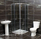 900mm Chrome Quadrant Cubicle Bathroom Cloakroom Shower Suite Inc shower tray