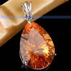 Sterling Silver Vintage Charming Large Drop Yellow Citrine Pendants