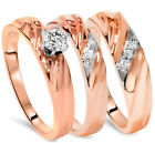 .30CT Diamond Engagement Trio Wedding Band Matching His Hers Set 14K Rose Gold