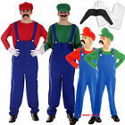 Mario Luigi Fancy Dress Plumber Workman Costume Mens Adult Boys Gloves Moustache