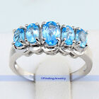 Elegant Jewelry Birthstone Swiss Blue Topaz 925 Sterling Silver Ring Size 7.25 7