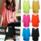 Women Batwing Dolman Sleeve Casual Loose Blouse Tops Cotton T-shirt Plus Size