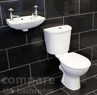 Cloakroom Bathroom Suite with Wall Mounted Basin Sink and Toilet Soft Close Seat
