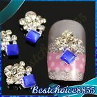 10pcs Alloy Blue Square Gems Full Rhinestones Flower 3D Nail Art Phone DIY Decal