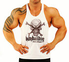 WHITE T-BACK  SKULL BODYBUILDING VEST WORKOUT GYM CLOTHING