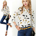New European Women Fox Printed Long Sleeve Blouse Button Down T-Shirt Lapel Tops