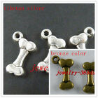 40 Tibetan Silver/Bronze Color Bone Charms 17x10mm 8137