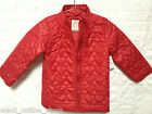 BNWT Old Navy Girls Quilted Puffer Jacket / Coat Red Size 2, 4, 5, 18-24 months