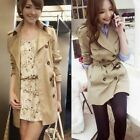 Vogue Fashion Double Breasted Lapel Women Trench Coat Outwear Jacket Tops Lined