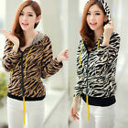 Fashion Allover Tiger Print Zip-up Hoodie Outwear Sweat Tops Drawstring Coats