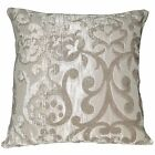 vb08a Light Taupe Flower On Khaki Thick Cotton Blend Cushion Cover/Pillow Case