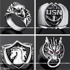 Gothic Punk Rock Mens Tibetan Silvery Metal Alloy Finger Rings Jewelry Cool Gift
