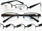L411 Superb Quality Semi-Rimless Reading Glasses/Spring Hinges/Classic & Fashion