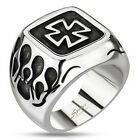 316L Stainless Steel Men's Maltese Celtic Cross with Flames Ring Size 9-14