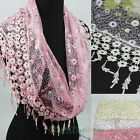 Fashion Women's Colorful Sequins Lace Floral Triangle Scarf Lace Trim Tassel New