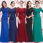 3/4 sleeve Vintage Lace Long Winter Evening Formal Prom Party Dress Gown 09882