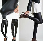 HIGH WAIST Faux Leather Wet Look Mat Matt Leggings Shiny Full Tight Anke Length